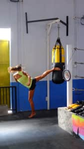 Girl in muay thai studio