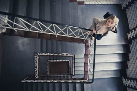 Woman going down the stair
