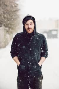 Black hoodie in the snow