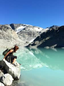 Favourite outdoor activity is definitely hiking! At one of my favorite sites! Wedgemount Lake 😍