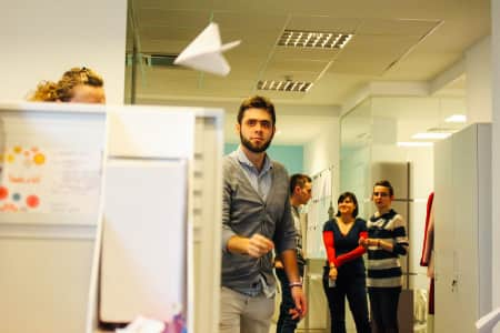 Fun at the office. Paper plane contest