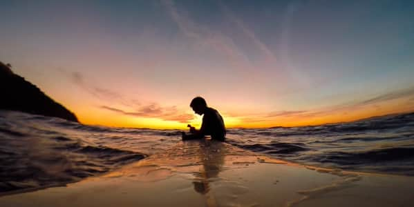 Sunset surfing vibes