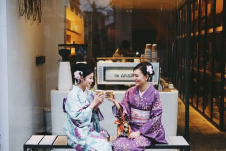 Coffee time in Kyoto Japan with kimono