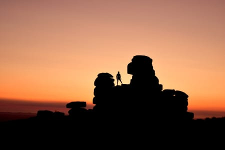 silhouette of myself stood on Staple Tor during the sunset- Dartmoor.
