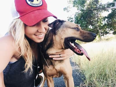 Girl and dog taking a selfie