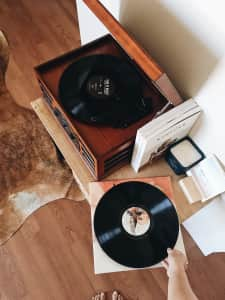 Listening to music records