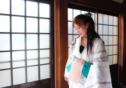 Japanese stylish fashion Kimono. Maid of honor.