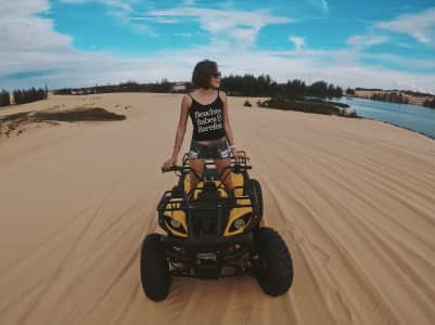 Riding a quad bike at the sand dunes!