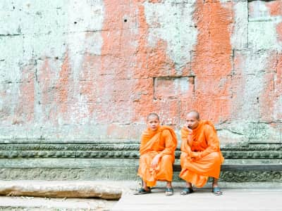 Seated monks in Angkor Thom