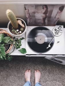 From Where I Stand; record player and Dark Dark Dark record, with cactus and feet