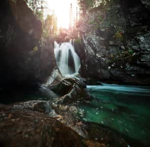 Waterfall in the Ural mountains