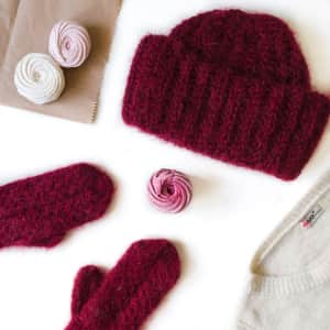 Knitted hat and gloves overhead view