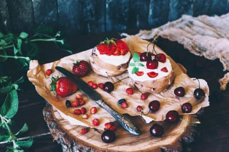 Cakes and berries