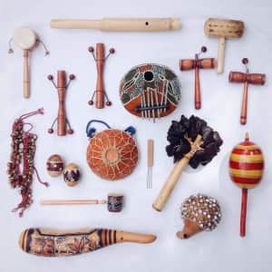 Our collection of ethnic instruments. So much fun to collect and play!