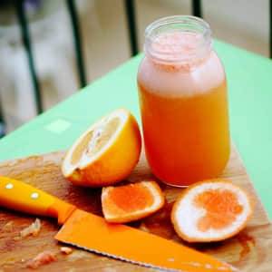 Fresh squeezed grapefruit juice for some yummy Greyhounds