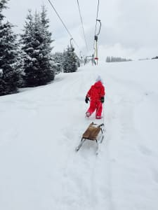 Little girl with sledge surrounded by snow