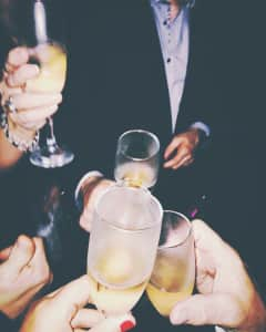 Champagne toast with friends