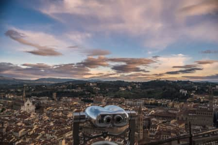Florence seen from the top of the Brunelleschi Dome during the sunset.