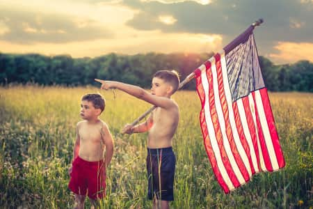 Young boys with American Flag