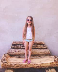 Little girl in sunglasses with long hair