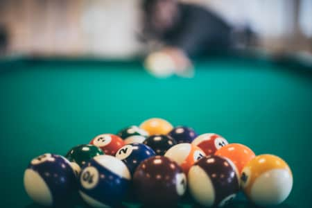 Playing pool at the office