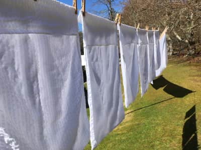White crisp clean linen on the washing line