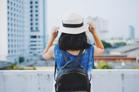 Young hipster girl in summer fashion style