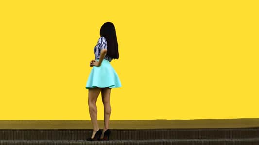 Perfect girl on yellow pattern