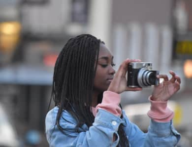 Beautiful talented girl getting the perfect shot