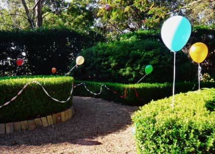 Party time, backyard garden decorated with balloons