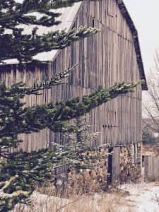 Barn with snow on the ground