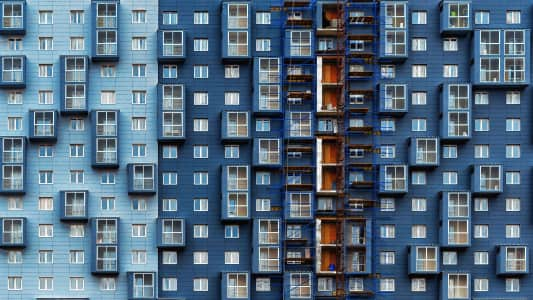 Blue minimalism in Moscow architecture
