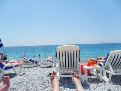 Relaxing at the beach in Nice, French Riviera