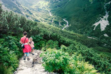 Family hiking in the mountains during summer vacation. Spending family time together