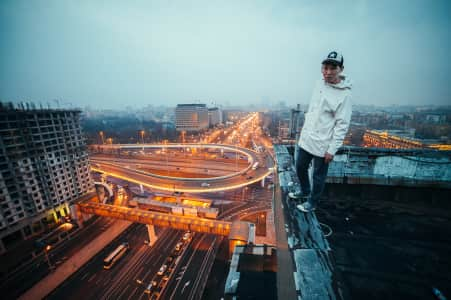 Boy, roof, city, car, road