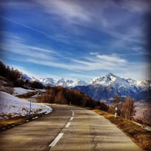 On the road in the Swiss Alps