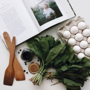 Cooking, flat lay, white background, cookbook, white eggs