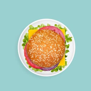 Sandwich cheeseburger. Fast food. Quick meal. Easy meal idea. On the go meal. Takeaway food. Classic