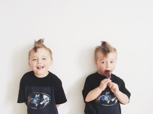 Batman, Popsicle, and faux hawk. Can't get much better!