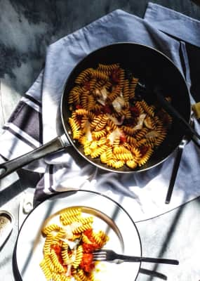 Roasted tomatoes and garlic with basil pasta