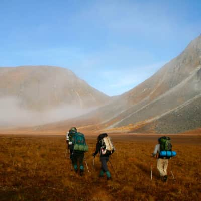 Trekking through the Talkeetna Mountains in Alaska