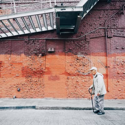 An old man walking