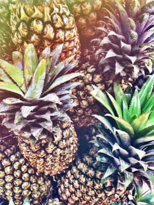 Close up shot of pineapple with vintage filter