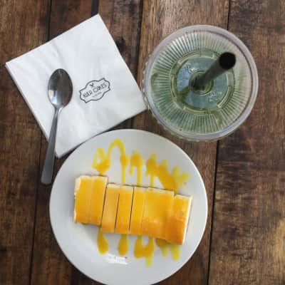 mango cheese cake and pandan cooler