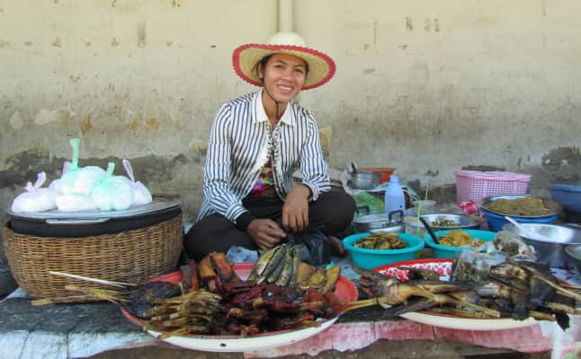 A young woman in a food market in Battambang, Cambodia, 2012