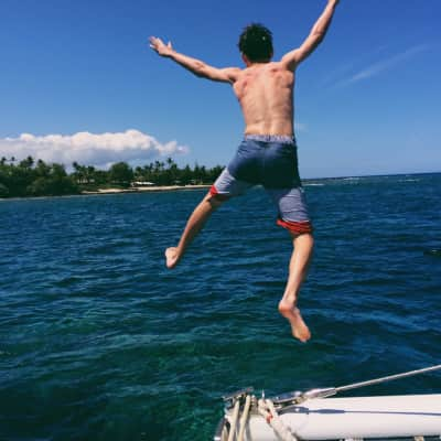 the Hawaiian life is a good life. why jump off the side when you can jump off the front?