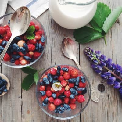 Berries with milk for breakfast