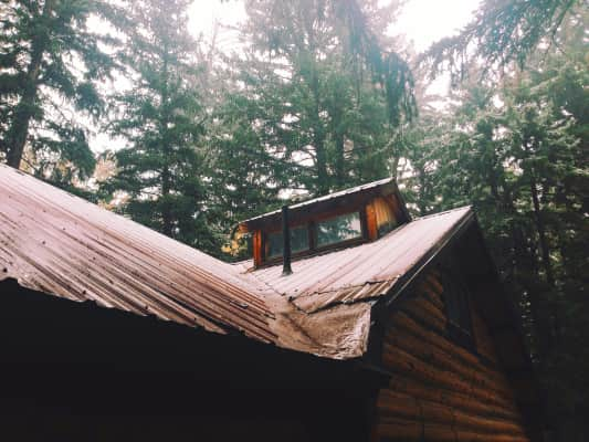 Our cabin on a crisp, foggy morning