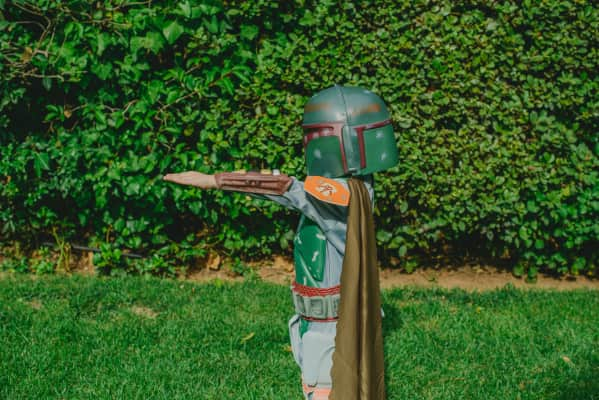 Playing in the garden with our favorite costume.
