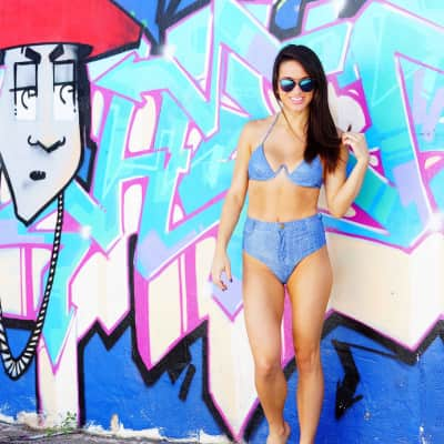 My new denim bikini in Venice Beach